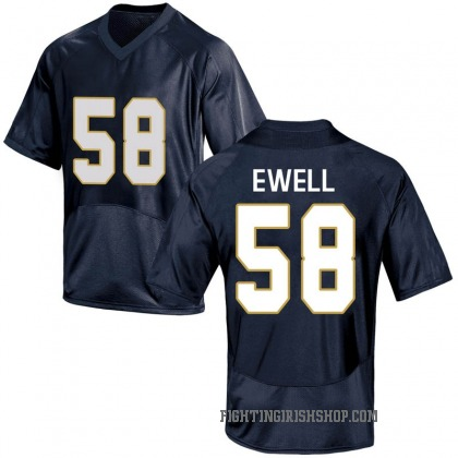 Replica Youth Darnell Ewell Notre Dame Fighting Irish Under Armour Football College Jersey - Navy Blue