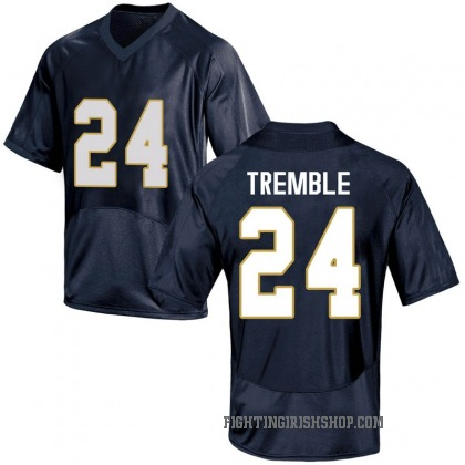 Replica Youth Tommy Tremble Notre Dame Fighting Irish Under Armour Football College Jersey - Navy Blue